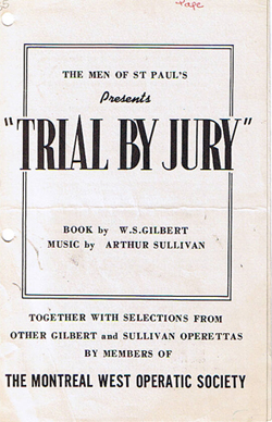 Guilbert and Sullivan Trial by Jury performed by Lakeshore Light Opera in 1955